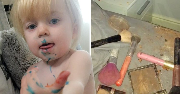 Mum wakes up to find two-year-old has completely destroyed her makeup